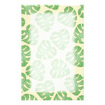 Leaf Pattern, Monstera Leaves on Cream Color. Personalized Stationery