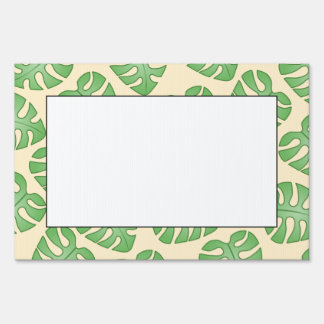 Leaf Pattern, Monstera Leaves on Cream Color. Signs