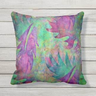 Leaf Pattern Pillow In Purple, Teal and Green