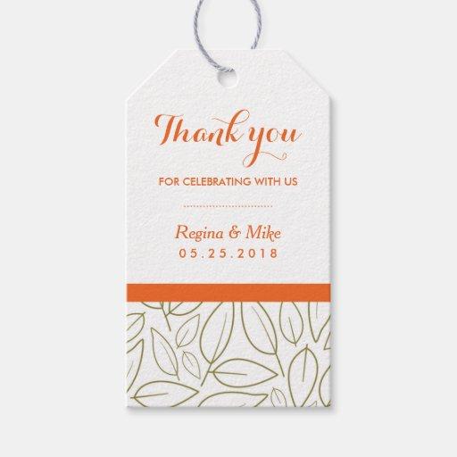 Leaf Pattern Thank You Wedding Gift Tag Zazzle