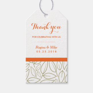 Leaf Pattern Thank You Wedding Gift Tag Pack Of Gift Tags