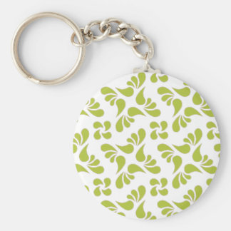 Leaf Pattern - White And Green Acid Keychains