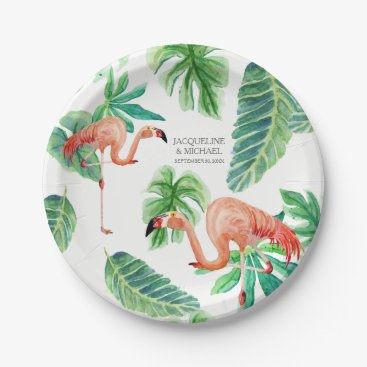 Beach Themed Leaf Pink Flamingo Bridal Shower Decor Watercolor Paper Plate