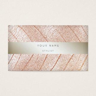 Leaf Pink Rose Gold Pearl Delicate Script Business Card