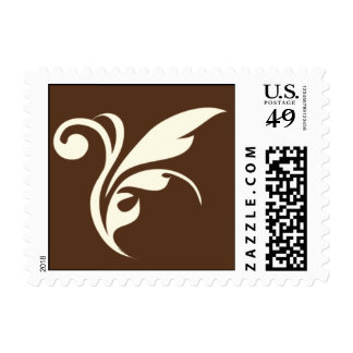 Leaf Plume on brown background Postage