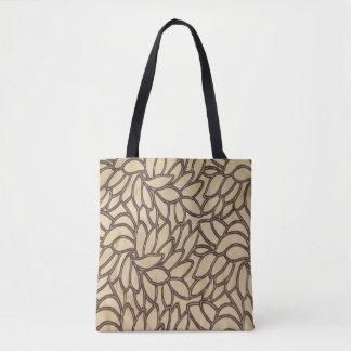 Leaf Print on Tan with Black Tote Bag