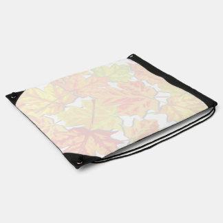 Leaf Print Watermark Drawstring Backpack