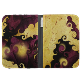 Leaf Purple and Gold Abstract Kindle case