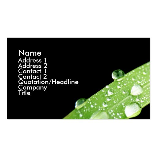 Leaf rain drops business card zazzle for Leaf business cards