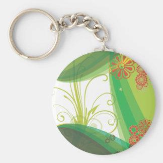 Leaf Scroll Basic Round Button Keychain