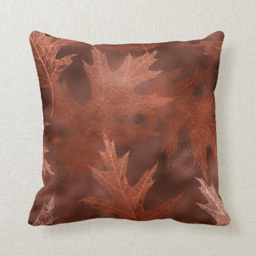 Leaf Shimmer Leaves Rust Fall Autumn Halloween Throw Pillow