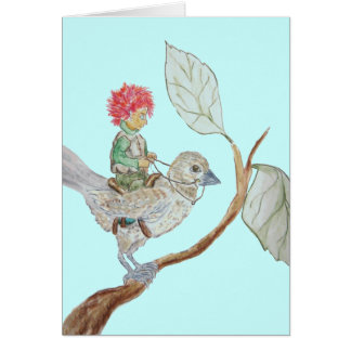 Leaf Sprite Rides a Sparrow Greeting Card