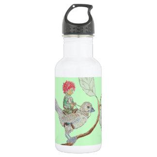 Leaf Sprite Rides a Sparrow 18oz Water Bottle