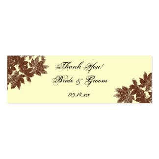 Leaf Stamp Wedding Favor Tag Double-Sided Mini Business Cards (Pack Of 20)