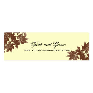 Leaf Stamp Wedding Website Card Double-Sided Mini Business Cards (Pack Of 20)
