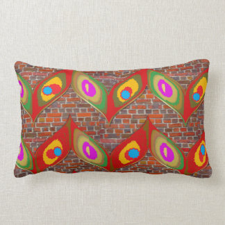 Leaf style colorful art on brick wall goodluck fun lumbar pillow