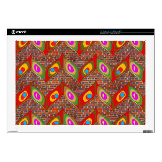 Leaf style colorful art on brick wall goodluck fun skins for laptops