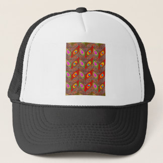 Leaf style colorful art on brick wall goodluck fun trucker hat