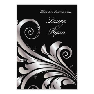 Leaf Swirl Wedding Invitation Black Silver
