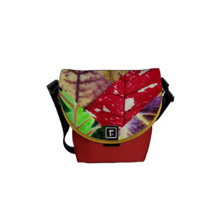 Leaf Texture Collage Messenger Bag