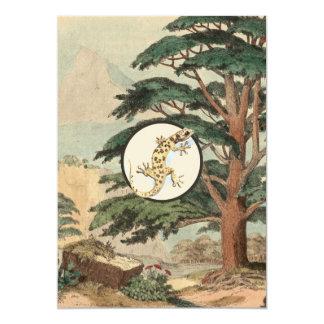 Leaf-Toed Gecko In Natural Habitat Illustration 5x7 Paper Invitation Card