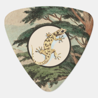 Leaf-Toed Gecko In Natural Habitat Illustration Guitar Pick