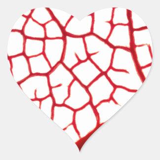 Leaf Vein Texture Heart Sticker