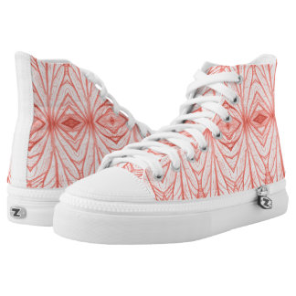 Leaf veins kaleidoscope pattern | Peach | High-Top Sneakers
