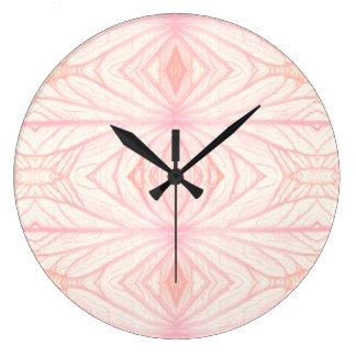 Leaf veins kaleidoscope pattern | Rose | Large Clock