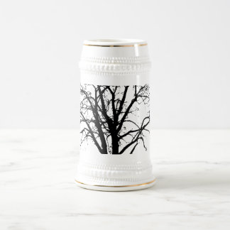 Leafless Tree In Winter Silhouette Beer Stein