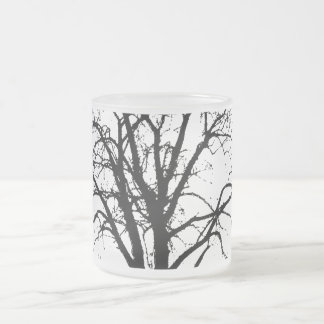 Leafless Tree In Winter Silhouette Frosted Glass Coffee Mug