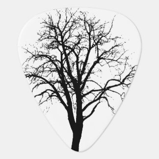 Leafless Tree In Winter Silhouette Guitar Pick