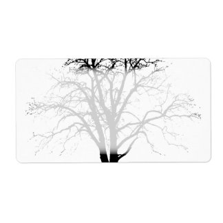 Leafless Tree In Winter Silhouette Custom Shipping Labels