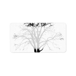 Leafless Tree In Winter Silhouette Labels