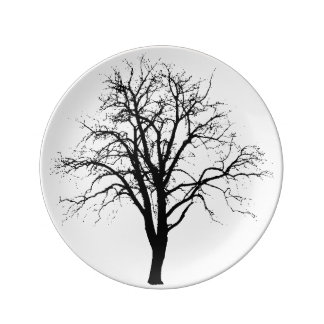 Leafless Tree In Winter Silhouette Porcelain Plates