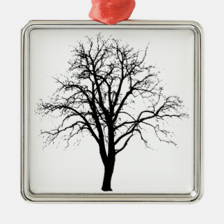 Leafless Tree In Winter Silhouette Metal Ornament