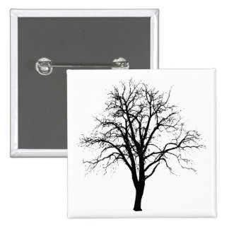 Leafless Tree In Winter Silhouette Pinback Button