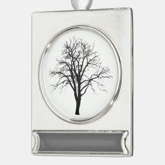 Leafless Tree In Winter Silhouette Silver Plated Banner Ornament