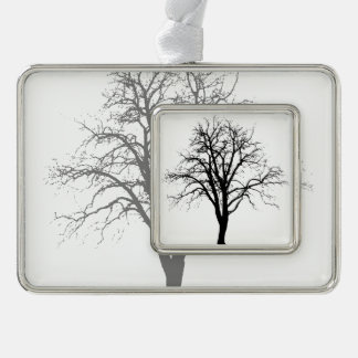 Leafless Tree In Winter Silhouette Silver Plated Framed Ornament