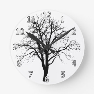Leafless Tree In Winter Silhouette Round Clock
