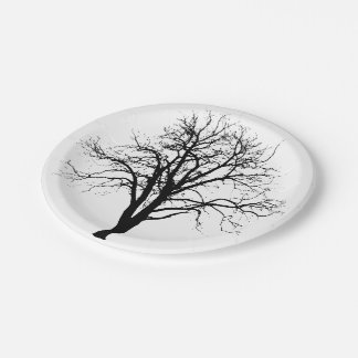 Leafless Tree In Winter Silhouette 7 Inch Paper Plate