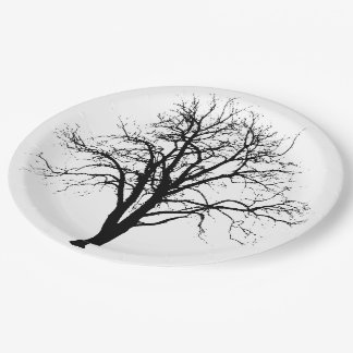 Leafless Tree In Winter Silhouette 9 Inch Paper Plate