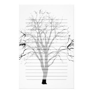 Leafless Tree In Winter Silhouette Stationery