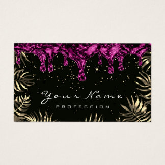 Leafs Glitter Wax Epilation Pink Depilation Gold Business Card