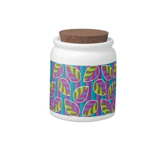 Leafs on Stripes Purple Candy Jar