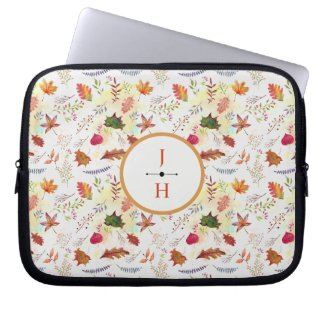 Leafy Autumn Rustic Watercolor Monogramed Laptop Sleeve