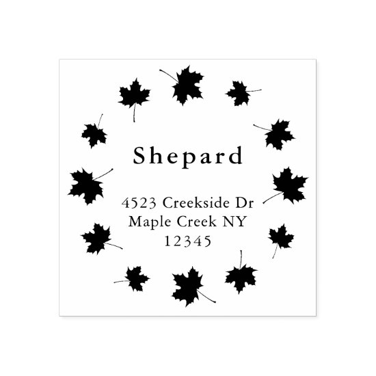 leafy border custom family name return address rubber stamp