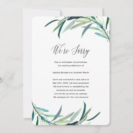 Leafy Botanical Wedding Postponement Announcement