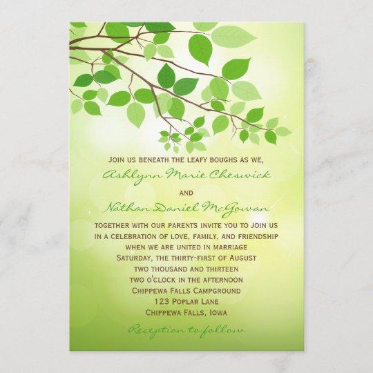 Leafy Branch Camping Or Nature Wedding Invitation Zazzle Com