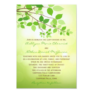 "Leafy Branch Camping or Nature Wedding Invitation 5"" X 7"" Invitation Card"